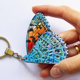 Кожаный брелок крыло бабочки