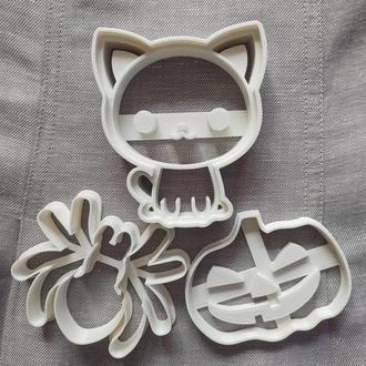 Котик, паучок, тыква. Набор пресс-форм для печенья (пряника) . Хеллоуин