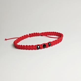 """Плетеный браслет-оберег красная нитка """"BlackBeads"""""""