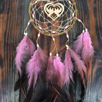 Розовый ловец снов, ловец снов сердце, натуральный ловец снов