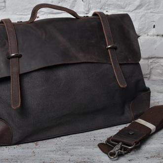 Стильная кожаная,коттоновая мужская сумка почтальонка.