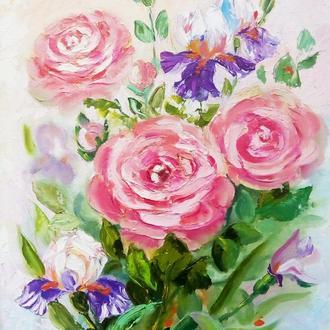 """Картина маслом """"Розы и ирисы"""" мастихин"""