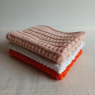 """Набор вязаных полотенец """"Релакс"""" для лица Мочалка вязаная из хлопка для чувствительной кожи"""