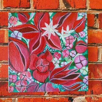 Картина акрилом Садовые цветы 10Х10 см