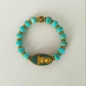 Тибетский браслет из натуральной бирюзы, ручной работы