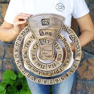 Подарок деловому человеку Вечный календарь из дерева Оригинальный подарок на юбилей, годовщину