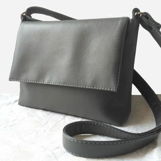Серая кроссбоди, женская сумка на регулируемом ремне