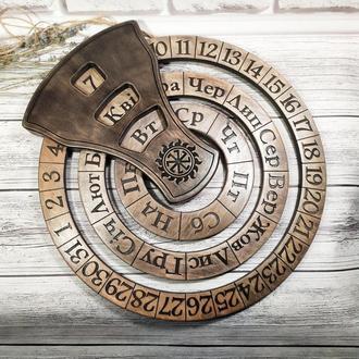 Деревянный бесконечный календарь, нанесение надписей, лого, диаметр 37 см