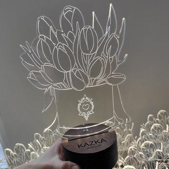 Ночник Тюльпаны, с гравировкой. Led ночник цветы.