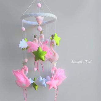 Мобиль с фламинго для девочки Мобиль с розовыми фламинго для девочки Подарок для беременной