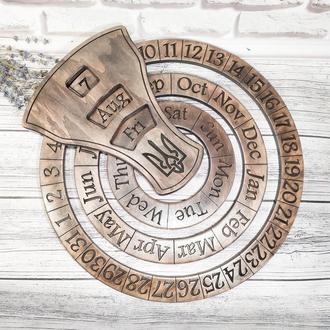 Настенный бесконечный календарь ручной работы с символикой Украины на любом языке