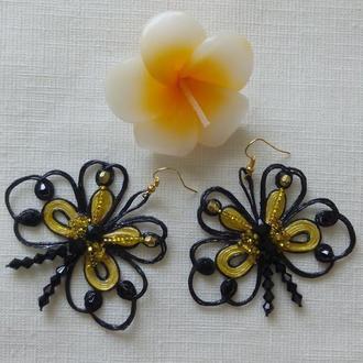 Серьги ′Бабочки′ выполенные в технике′Джутовая филигрань′