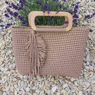 Осенняя сумка вязки, бежевая трендовая сумка, коричневая эко сумка с деревянными ручками Киев