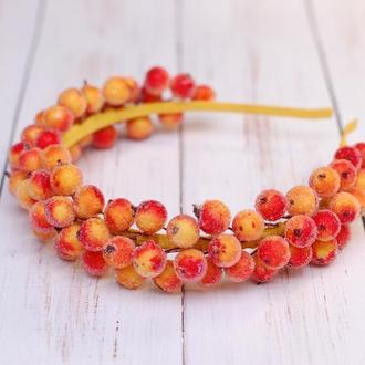 Обруч ободок с ягодами рябины