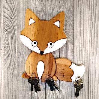 Ключница Лисичка деревянная Мастерская мистера Томаса 23см х 25см Ольха