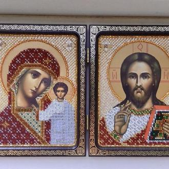 Складень двойной Христос Спаситель и Богородица Казанская