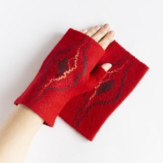 Красные валяные митенки перчатки без пальцев из шерсти