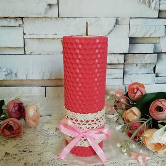 Розовая свеча из натурального воска