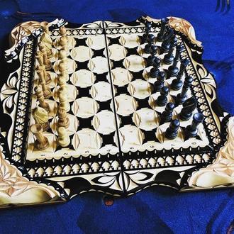Шахматы-нарды-шашки 3 в 1  «Охота»