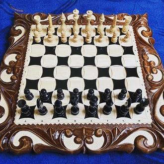 Шахматы-нарды-шашки «Лев» комплект 3 в 1
