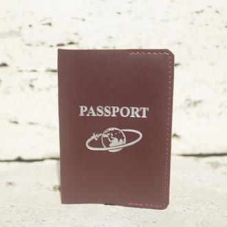 Обложка на паспорт из кожи v2.0 (burgundy)