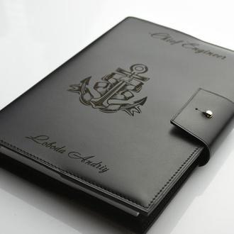 Мужской блокнот из черной кожи, оригинальный подарок мужчине, подарок начальнику, не большой блокнот