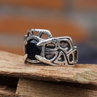 """Мужское серебряное кольцо """"INTERFLOW""""   кольцо с черным ониксом   мужское кольцо с камнем"""