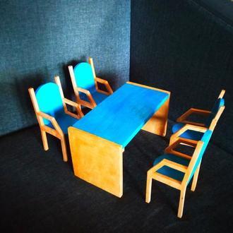 Мебель для кукольного домика. мебель для кукол барби. Стол и стулья для барби