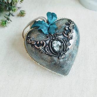"""Новогодняя елочная игрушка """"Винтажное сердце"""""""