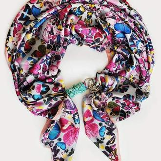 """Шелковый шарф """"Нежная сирень"""", атласный  платок, шарф-колье, шарф-чокер, шейный платок"""