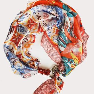 """Летний сад"" атласный платок, шарф,  шарф-колье, шарф-чокер, шейный платок, подарок женщине"