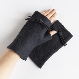 Валяные женские митенки перчатки без пальцев из шерсти Митенки-кошка