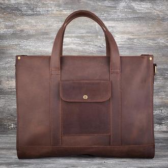 Большая женская коричневая кожаная сумка