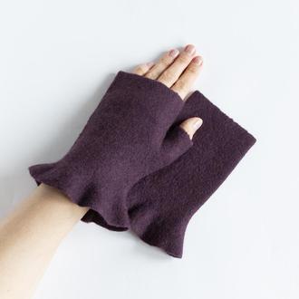Митенки с рюшами валяные женские Перчатки без пальцев из шерсти