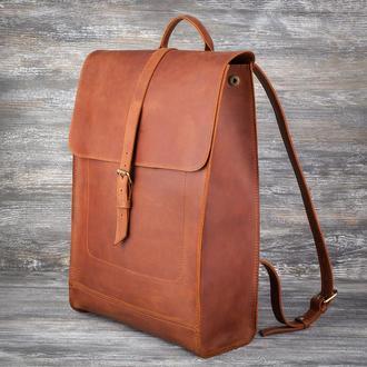 Коричневый большой кожаный рюкзак