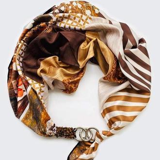 """""""Шоколадная страсть """"  платок, шарф-колье, шарф-чокер, шейный платок"""