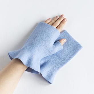 Голубые митенки с рюшами валяные женские Перчатки без пальцев из шерсти