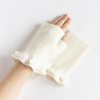 Митенки белые с рюшами валяные женские Перчатки без пальцев из шерсти и шелка