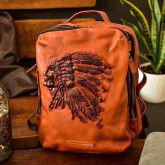 Кожаный рюкзак Вождь, 20 л, натуральная кожа, тиснение, мужская сумка