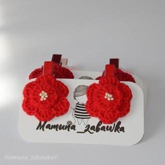 Заколки дитячі для волосся в'язані квіти червоні подарунок для дівчинки
