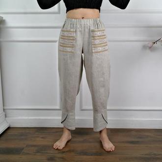 Летние штаны в стиле БОХО из натурального льна ЭКСКЛЮЗИВ!