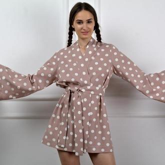 Халатик из натурального льна Women Linen Robe