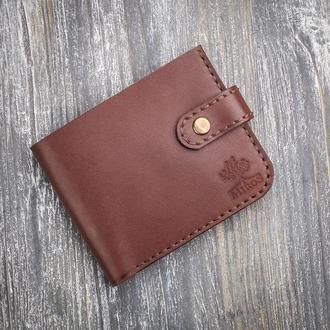 Мужской кожаный коричневый маленький кошелек