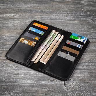 Черный кожаный мужской кошелек портмоне