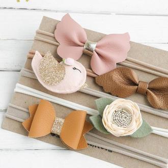Подарочный набор повязок для девочки / Осенняя повязка для малышки / Подарунок дівчинці