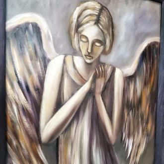 Ангельское терпение,живопись маслом, размер 35х45см