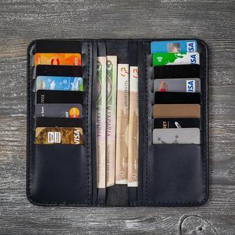 Мужской кожаный синий кошелек портмоне