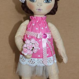 Авторская коллекционная кукла в розовом платье в горох