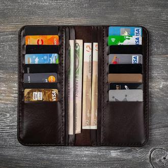 Коричневый кожаный мужской кошелек портмоне