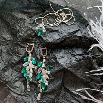 комплект свадебных украшений серьги браслет